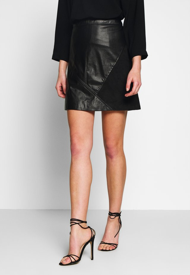 VIHALLO SHORT SKIRT - A-line skirt - black/black