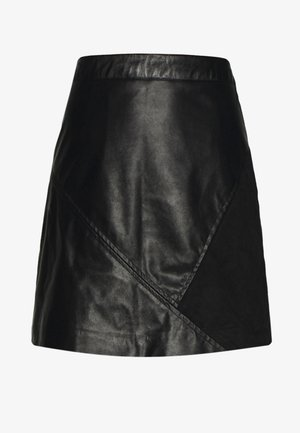 VIHALLO SHORT SKIRT - Falda acampanada - black/black