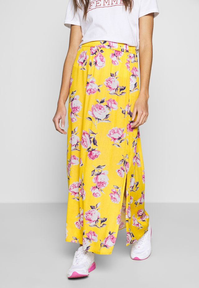 VILULU MAXI SKIRT - Maxi skirt - golden rod/white/rose