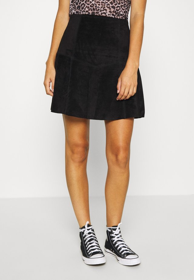 VIVISO SHORT SKIRT - A-line skirt - black/gun metal