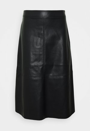 VINALIA COATED SKIRT - A-line skirt - black