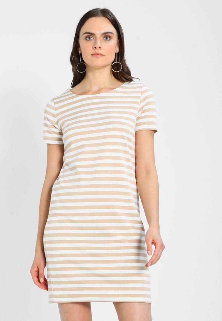 Vila - VITINNY NEW DRESS - Jerseyjurk - sesame/snow white
