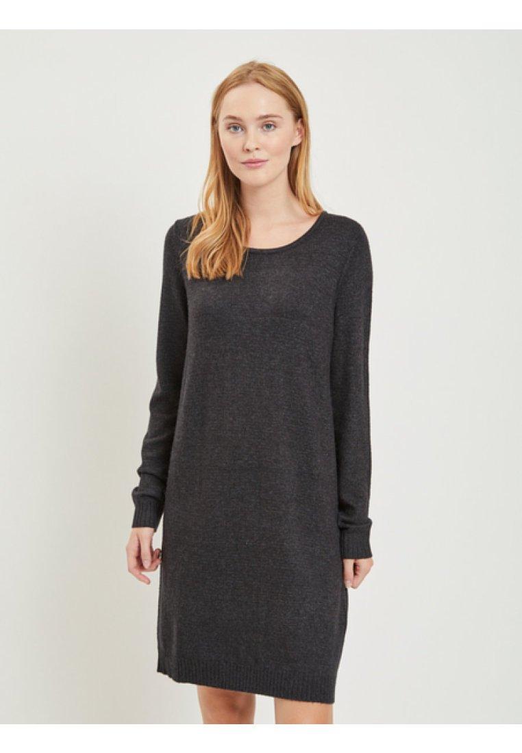 Vila - Stickad klänning - dark grey melange