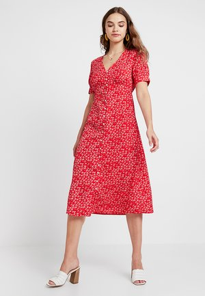 VILLUMA FLOWER BUTTON DRESS - Blousejurk - racing red