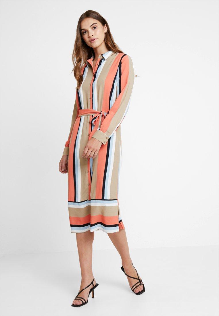 Vila - VINUMA MIDI DRESS - Blusenkleid - soft camel/emberglow/powder blue/