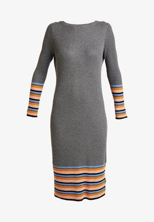 VIHELENI STRIPE DRESS - Abito in maglia - medium grey melange/ultramarine