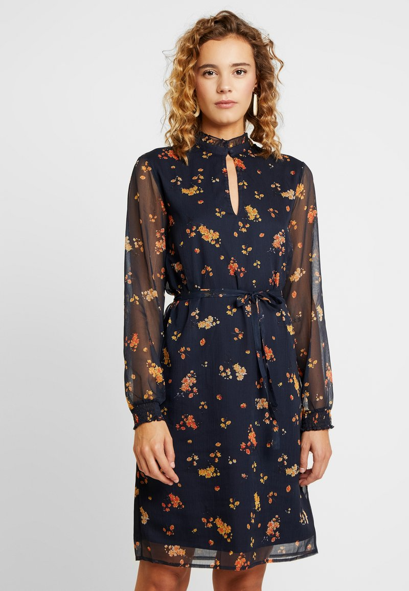 Vila - VINALA HIGHNECK DRESS - Day dress - dark navy/orange