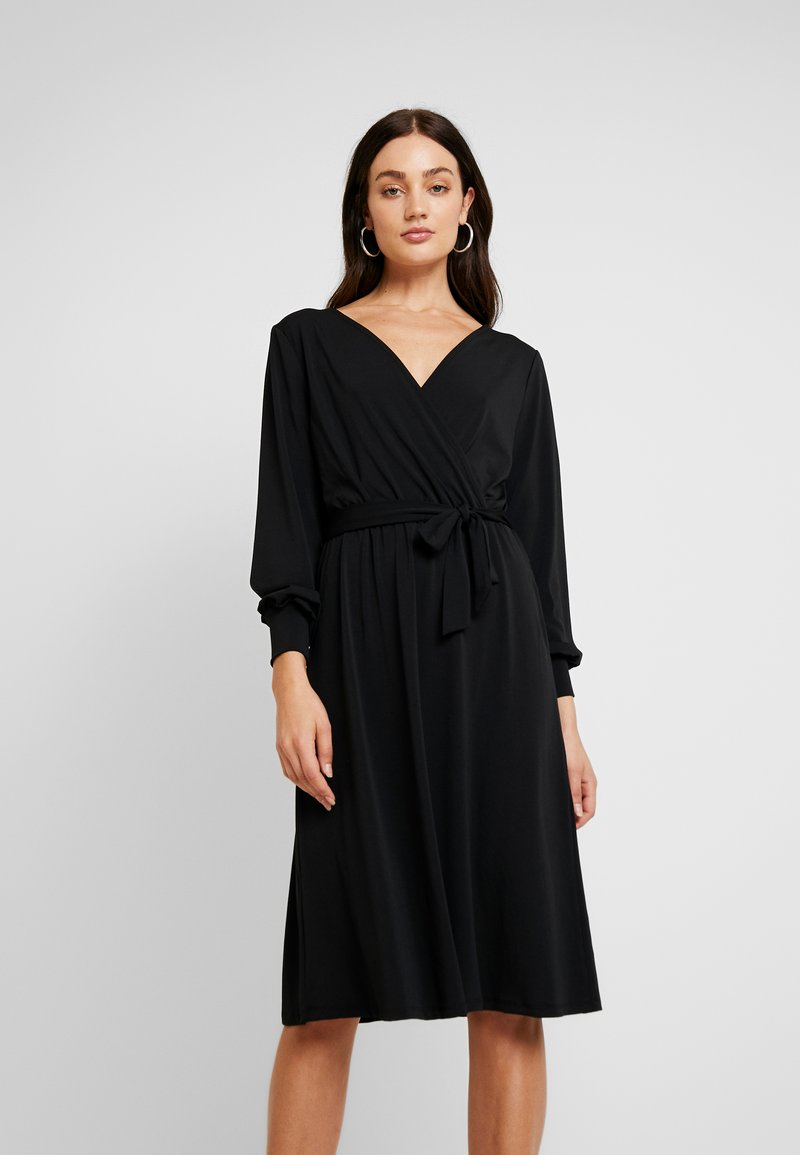 Vila - VIBORNEO MIDI DRESS - Jerseykjoler - black