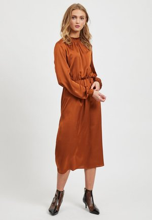 Korte jurk - cognac