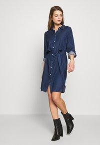 Vila - VIBISTA BELT DRESS - Dongerikjole - dark blue - 1