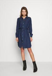 Vila - VIBISTA BELT DRESS - Dongerikjole - dark blue - 0