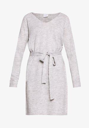 VISURIL V-NECK  SHORT DRES - Strikket kjole - light grey melange