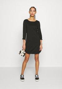 Vila - VITINNY MINI FLOUNCE DRESS - Jersey dress - black - 1