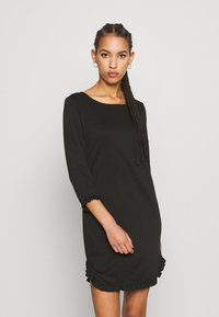 Vila - VITINNY MINI FLOUNCE DRESS - Jersey dress - black - 0