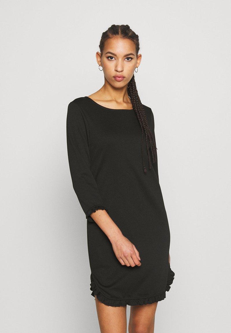Vila - VITINNY MINI FLOUNCE DRESS - Jersey dress - black