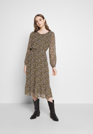 VIELINA FLOWER DRESS - Kjole - black/flowers golden/dusty came