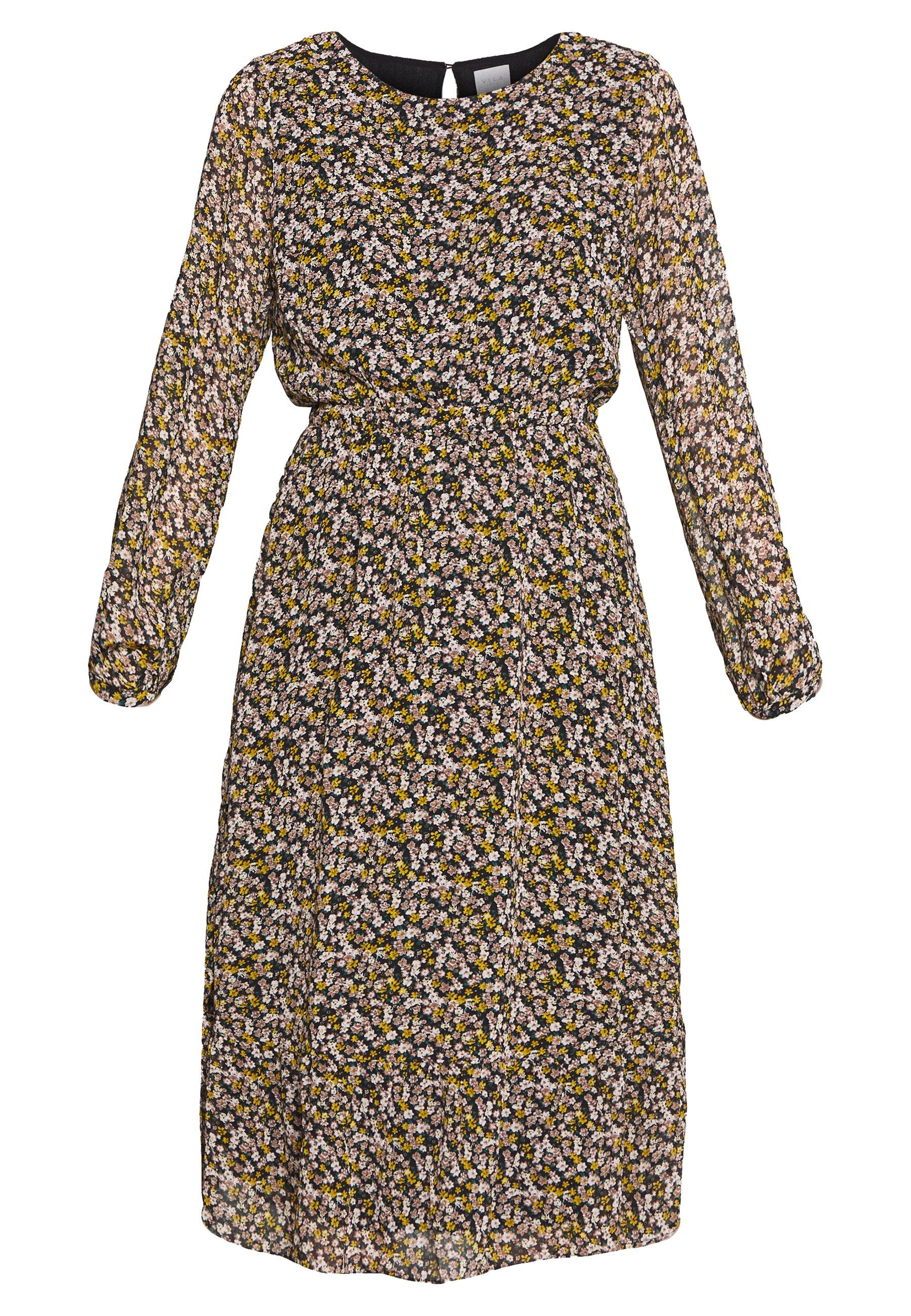 Vila VIELINA FLOWER DRESS - Sukienka letnia - black/flowers golden/dusty came