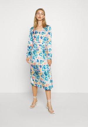 VIAKVARALLA V-NECK MIDI DRESS - Shirt dress - pale mauve/blue/yellow