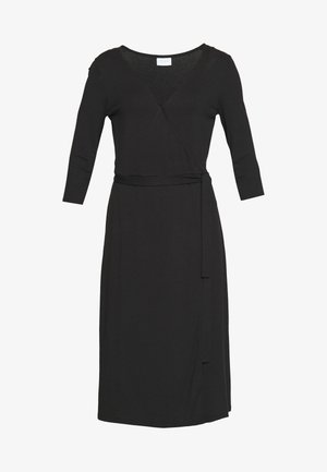 VIDELL WRAP DRESS - Jersey dress - black
