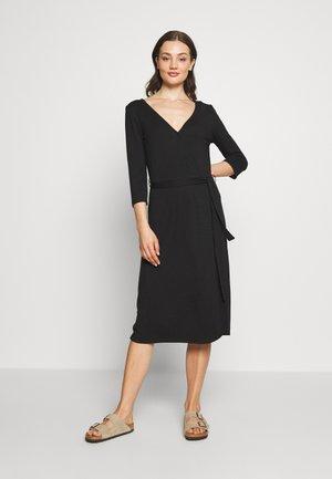 VIDELL WRAP DRESS - Jersey dress - black