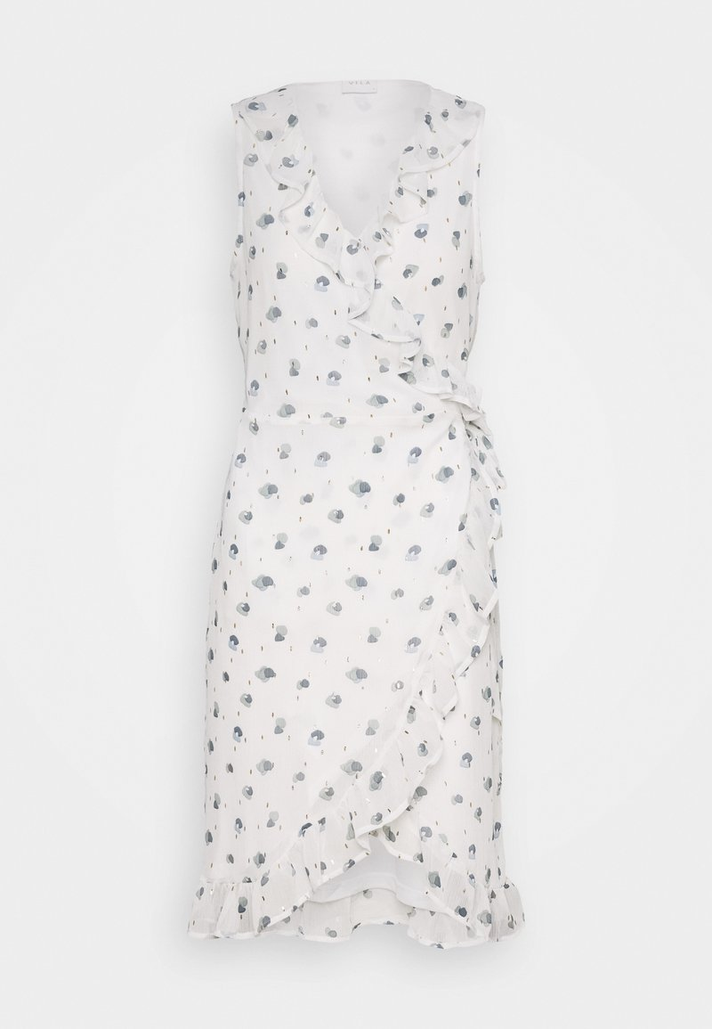 Vila - VIRILLABLUNIE WRAP DRESS - Korte jurk - cloud dancer/blunie