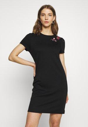 VITINNY SHOULDER EMBROIDERY  - Jersey dress - black