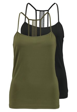 VISONJA 2 PACK - Top - black/dark olive