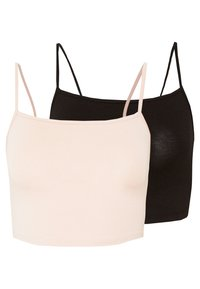 Vila - VILALI FESTIVAL CROPPED 2 PACK - Top - black/rose smoke - 0