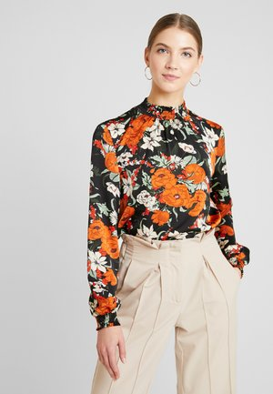Blouse - black orange white flowers
