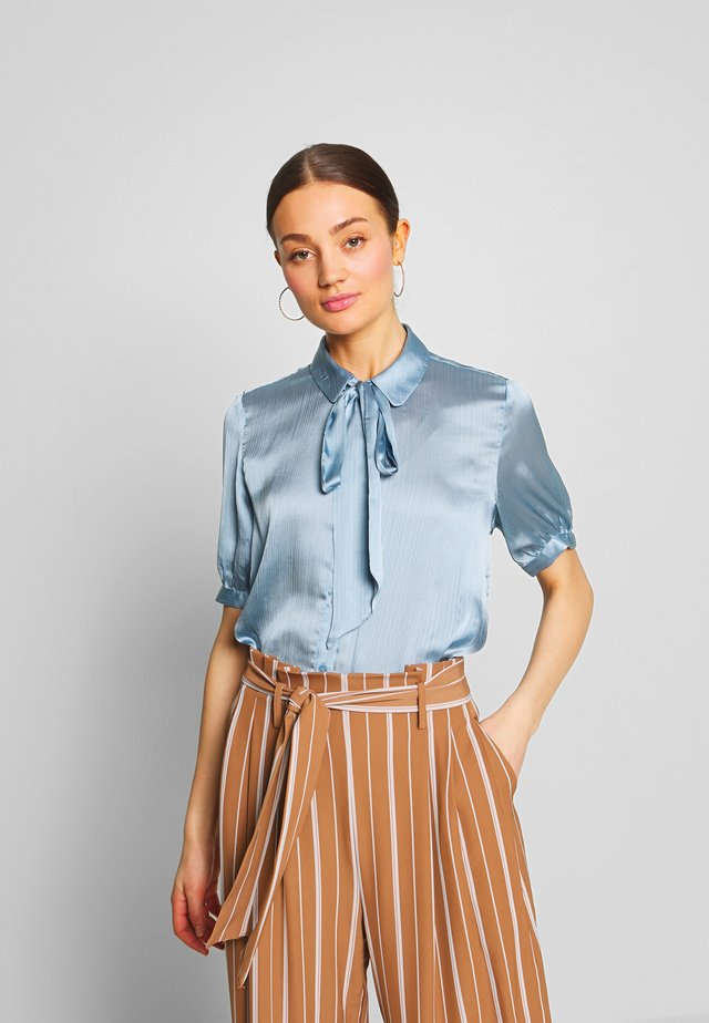 VISUWAVEY BOW - Button-down blouse - ashley blue