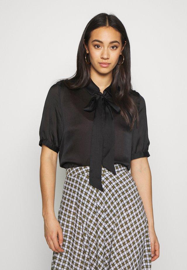 VISUWAVEY BOW - Button-down blouse - black