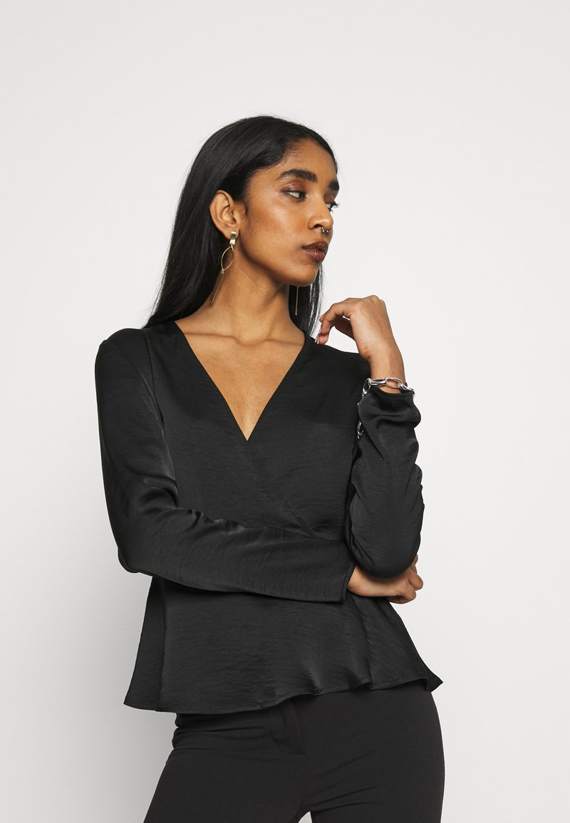 Vila - VIZIPPA WRAP EFFECT TOP - Bluser - black