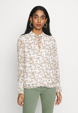 VICUTE TIE NECK DETAIL TOP - Blouse - cloud dancer/pink flowers