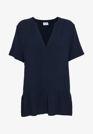 VILAUSA V-NECK TOP - Blouse - navy blazer