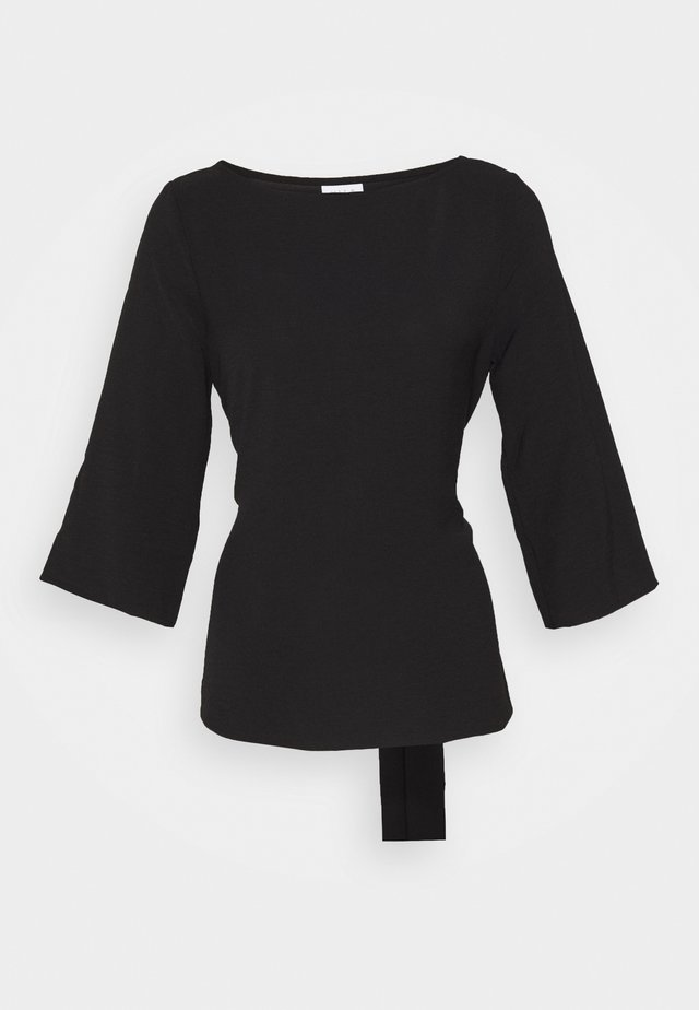 VIRASHA BOATNECK 3/4 TIE TOP - FAV - Blouse - black