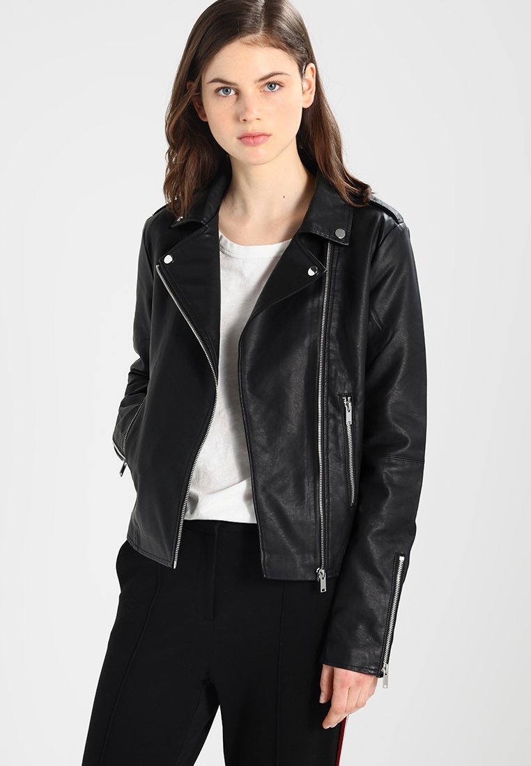 Vila - VICARA FAUX JACKET - Faux leather jacket - black