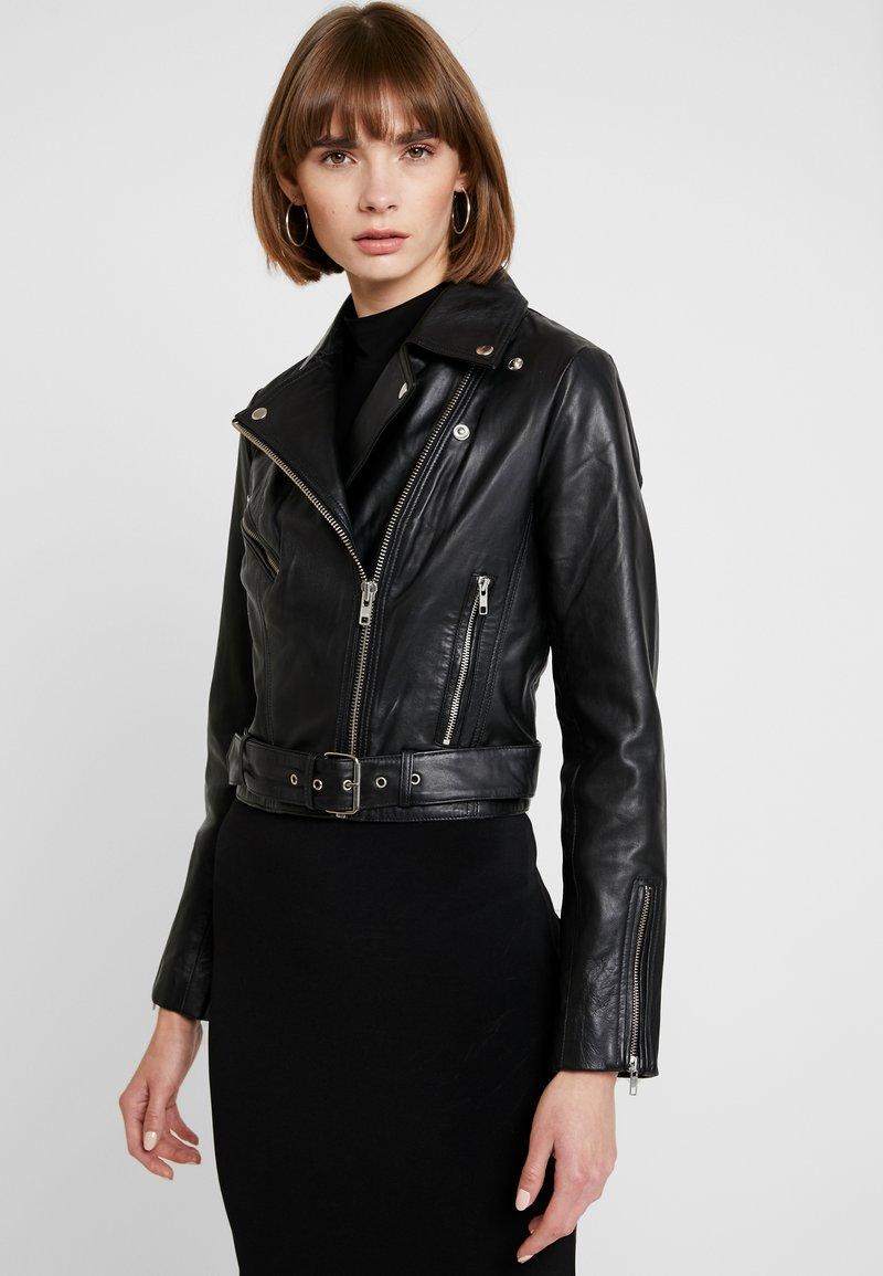 Vila - VIWILLAS SHORT JACKET - Leather jacket - black