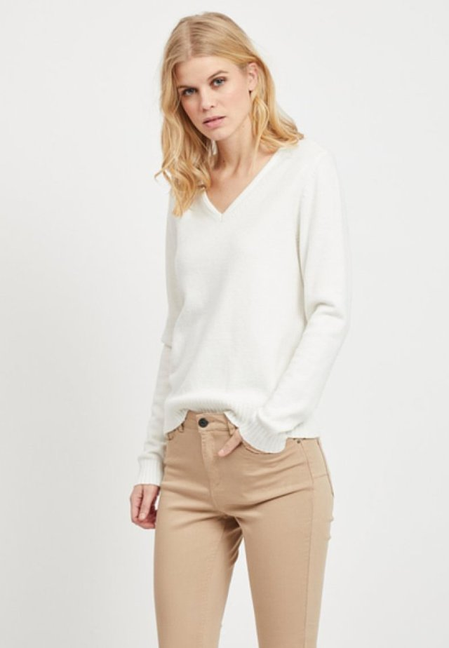 VIRIL V NECK - Strickpullover - white