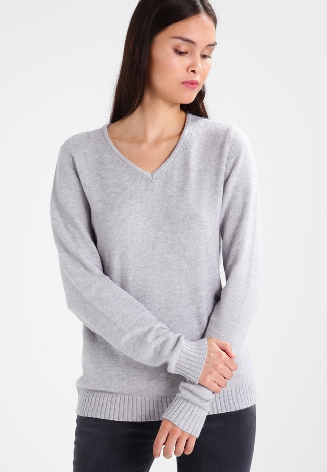 VIRIL V NECK - Trui - light grey melange