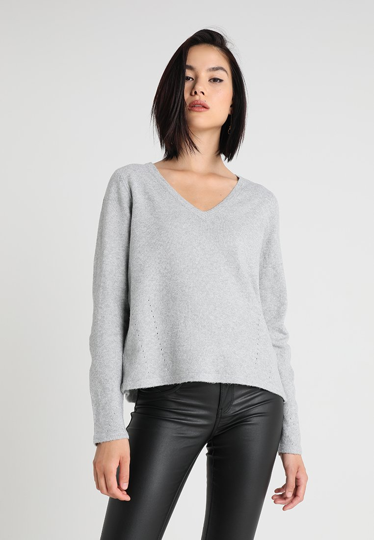 Vila - VIDICTE WRAP - Strickpullover - light grey melange
