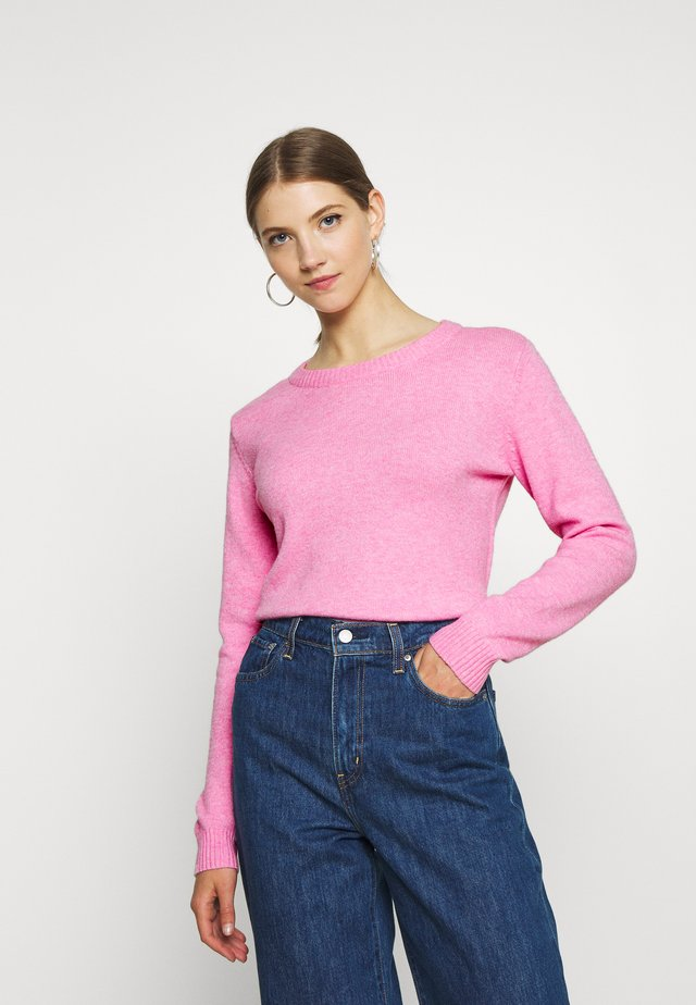 VIRIL O-NECK - Stickad tröja - begonia pink/melange