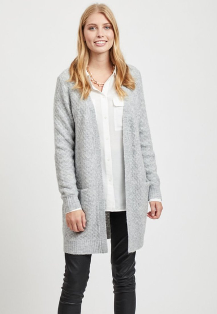 Vila - Strickjacke - light grey melange