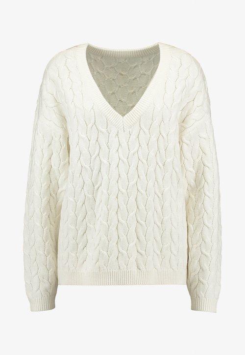 Vila VIDEPART VNECK - Sweter - whisper white Odzież Damska PBUE-LZ9 Stała usługa