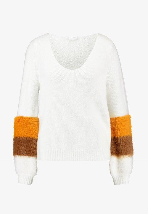 Vila VISAMAR V-NECK - Sweter - whisper white/golden oak toffee white Odzież Damska JHNR-XB3 nowy