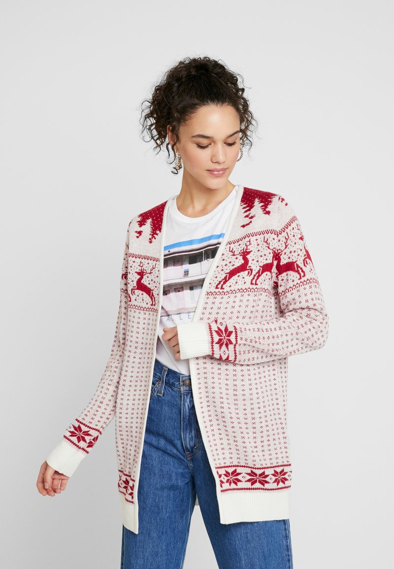 Vila - Cardigan - snow white/red