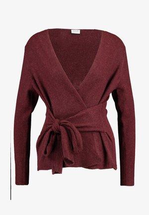 VIARMA KNIT TIE CARDIGAN - Pullover - tawny port/melange