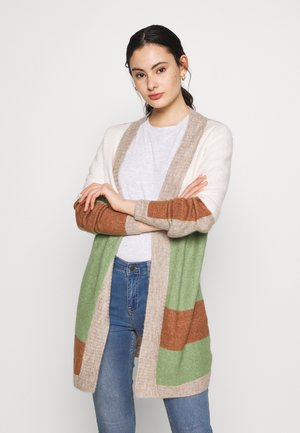VIBLOCK SLEEVE CARDIGAN - Cardigan - loden frost/w. natural mel w. whisp