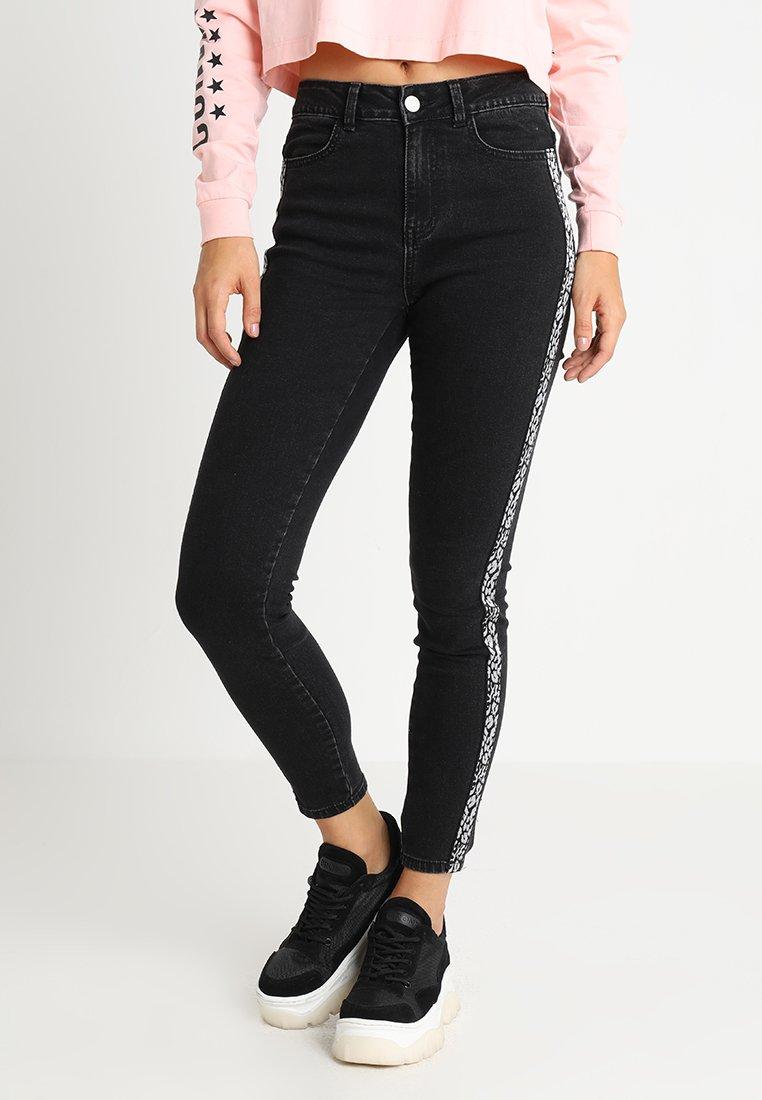 Vila - VICOMMIT HILLTOP LEO  - Jeans Skinny Fit - black