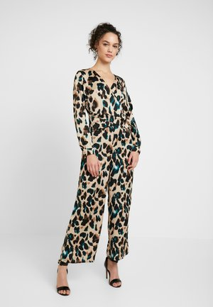 Jumpsuit - silver peony/green