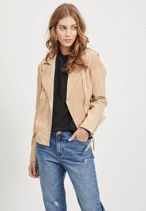 VICRIS - Leather jacket - beige